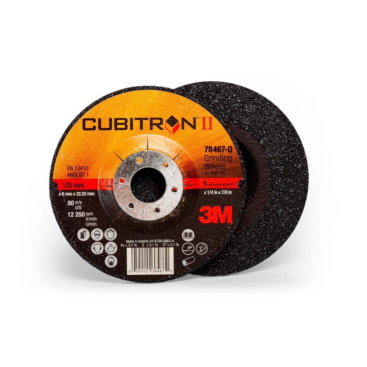 3M Cubitron II Depressed Center Grinding Wheel T27  (78467-Q)  5 in x 1/4 in x 7/8 in