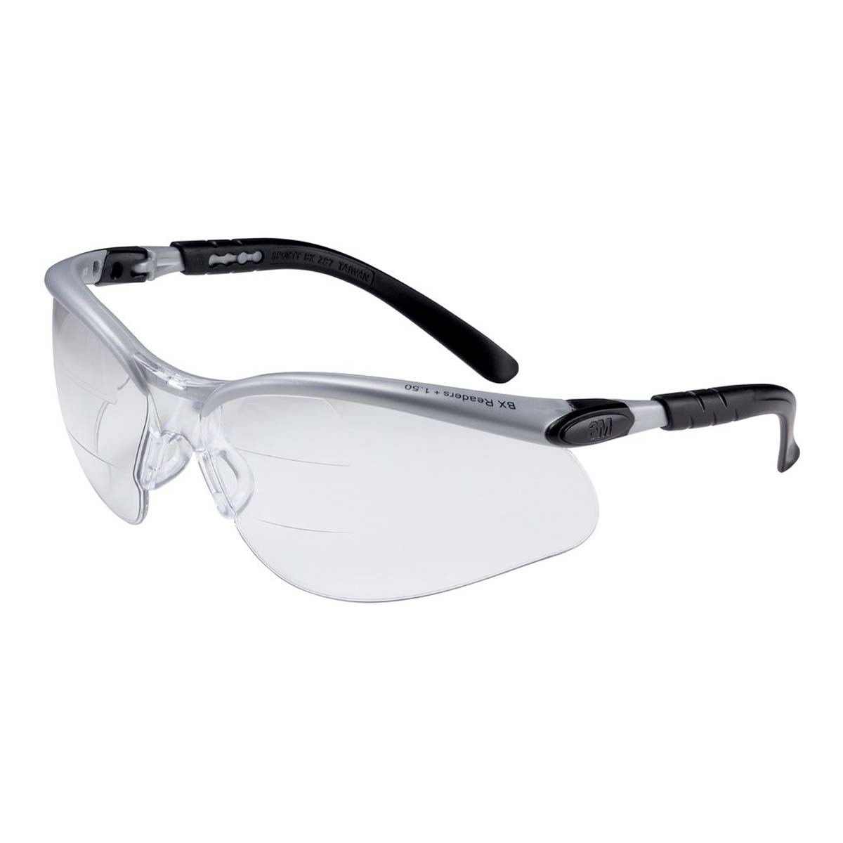 "3Mâ""¢ BXâ""¢ Dual Reader Protective Eyewear 11458-00000-20 Clear Anti-Fog Lens, Silver/Black Frame, +2.0 Top/Bottom Diopter"