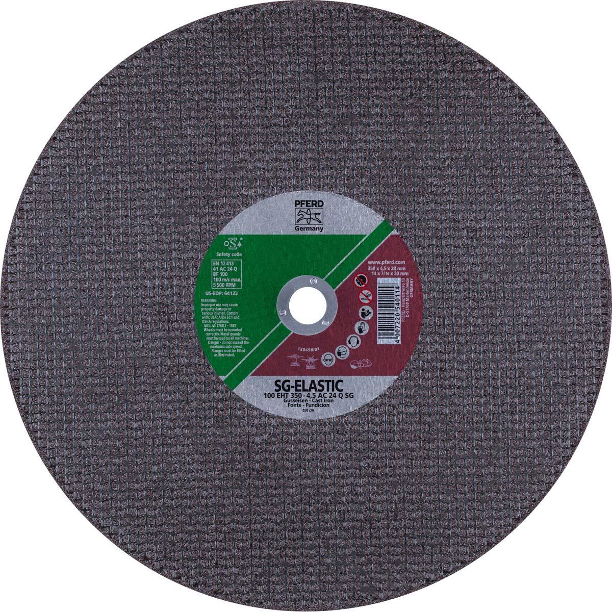 """14"""" x 3/16"""" Cut-Off Wheel, 20mm AH - Portable AC 24 Q SG - Ductile Iron"""