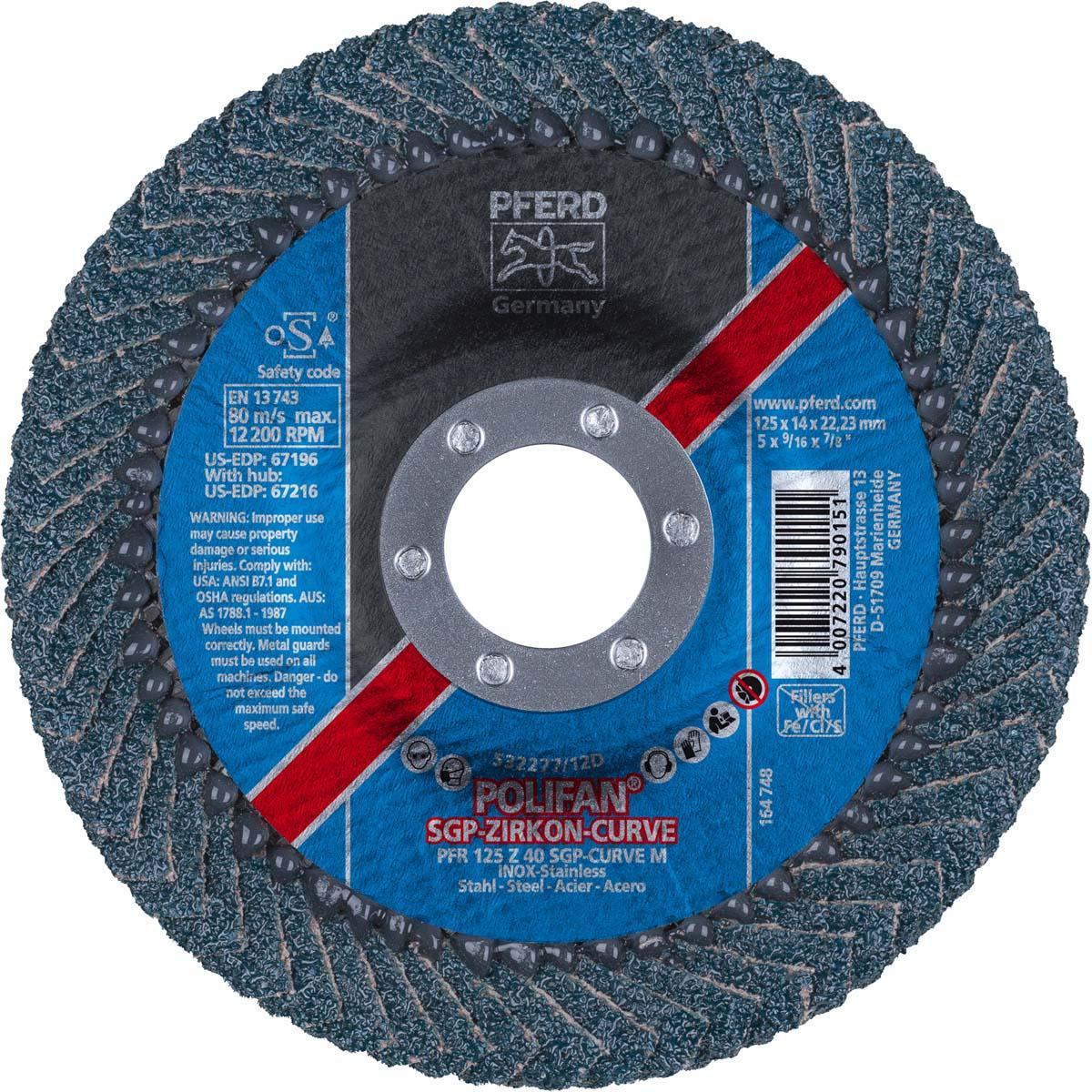 "5"" x 7/8"" POLIFAN® CURVE Flap Disc SGP, Zirconia, 40 Grit, Medium Radius"