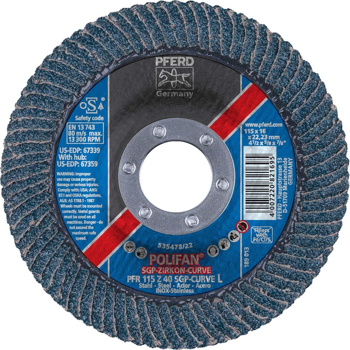 "4-1/2"" x 7/8"" POLIFAN® CURVE Flap Disc SGP, Zirconia, 40 Grit, Large Radius"