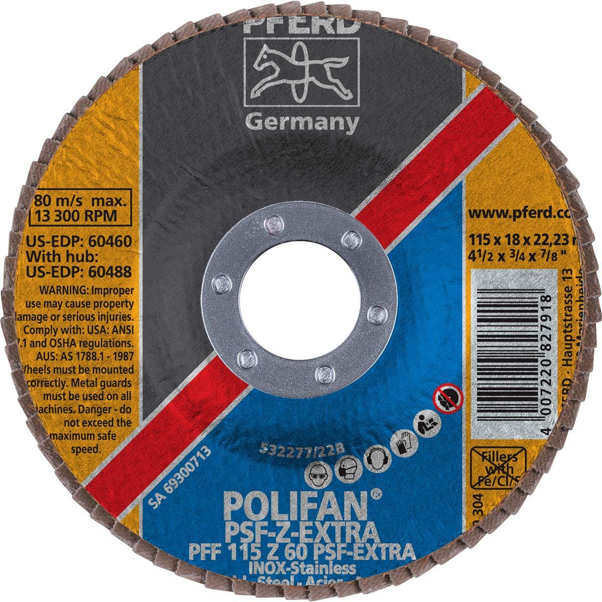 "4-1/2"" x 7/8"" POLIFAN® Flap Disc - Flat PSF-EXTRA, Zirconia, 60 Grit"