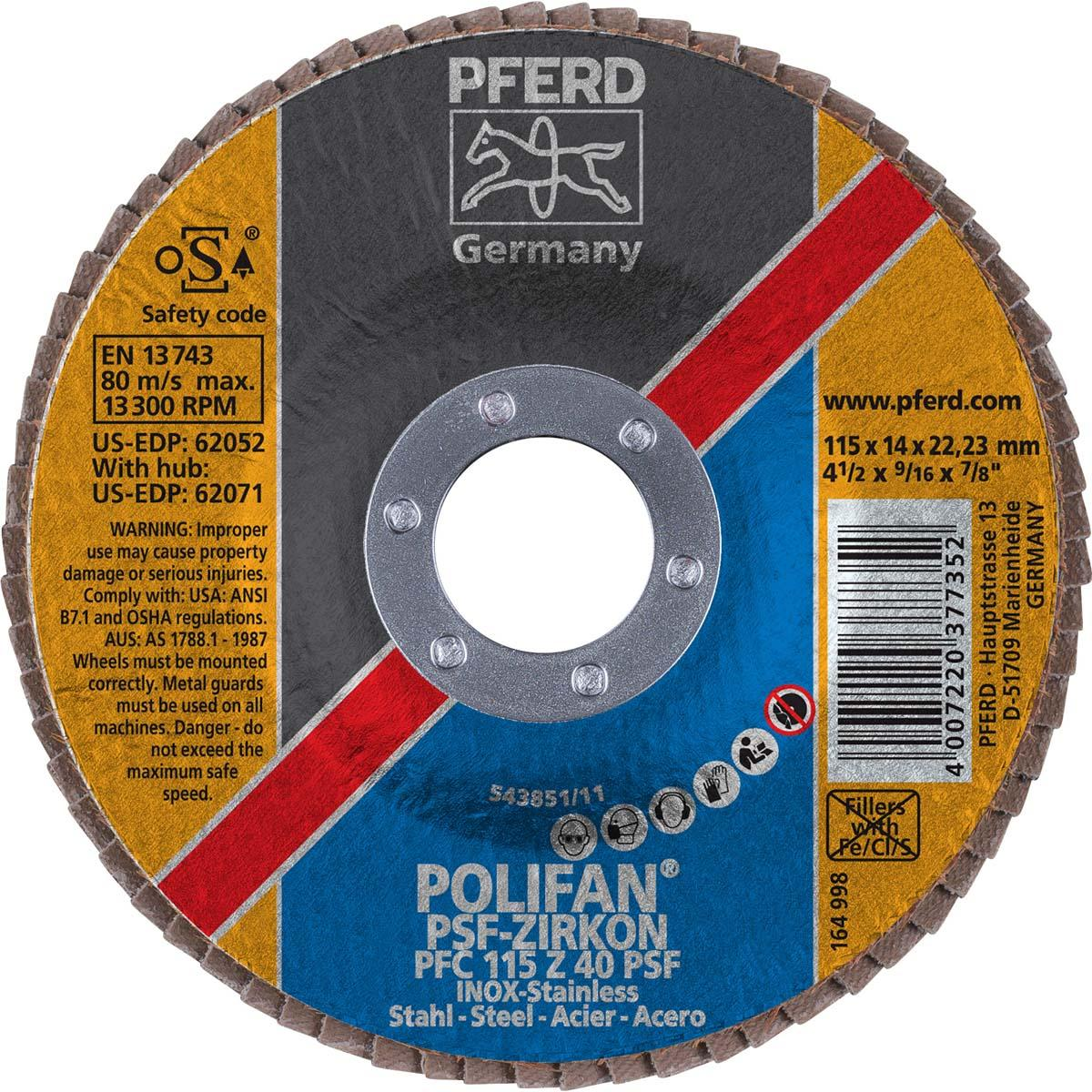 """4-1/2"""" x 7/8"""" POLIFAN® Flap Disc - Conical PSF, Zirconia, 40 Grit"""