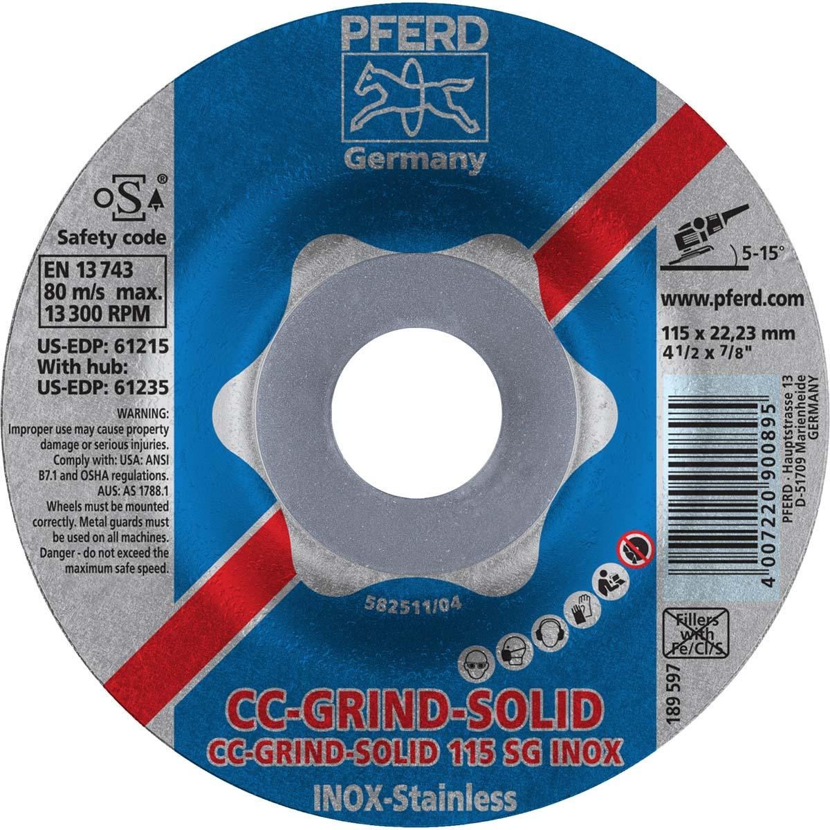 "4-1/2"" CC-GRIND-SOLID 7/8"" A.H. - SG for STAINLESS / INOX"