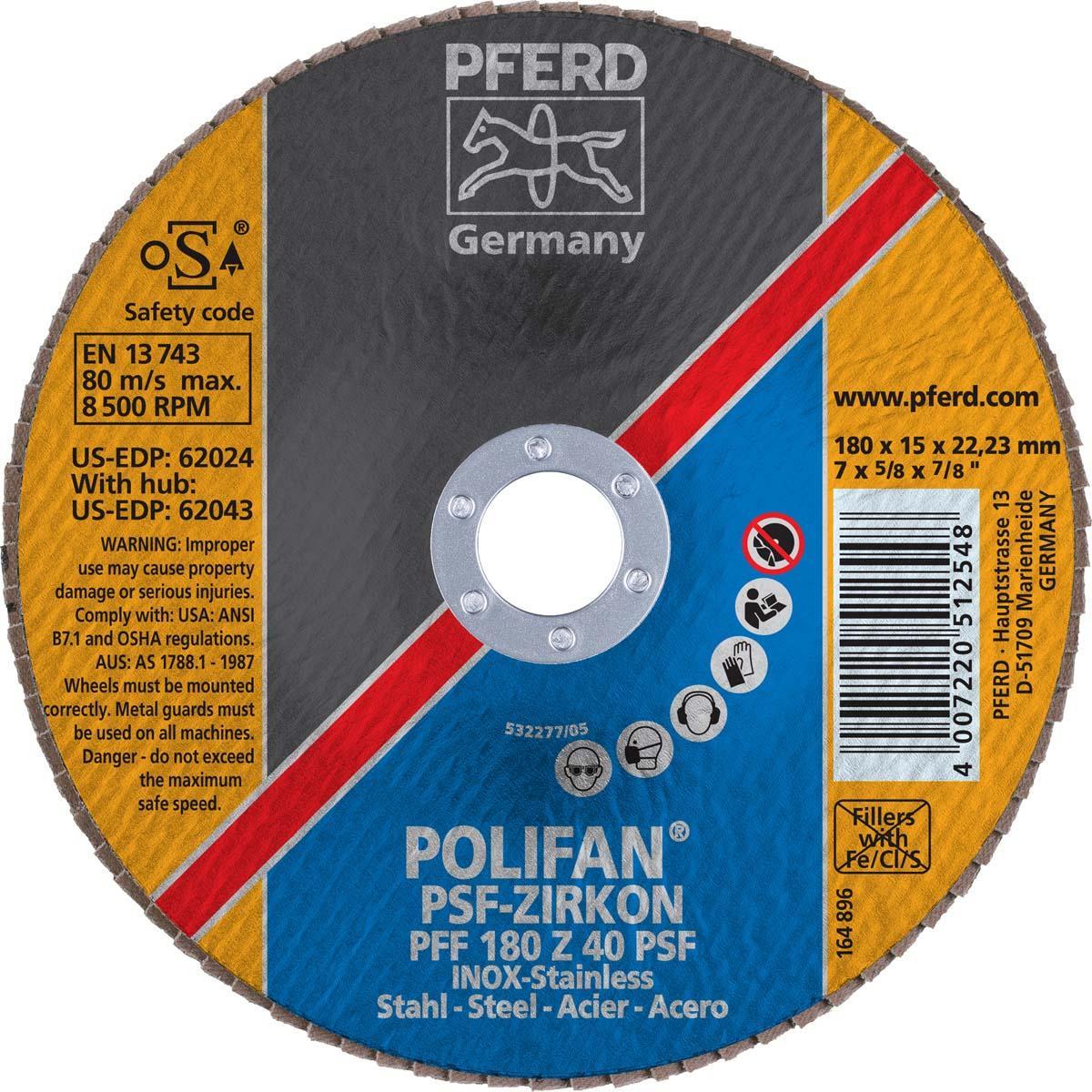 "7"" x 7/8"" POLIFAN® Flap Disc- Flat PSF, Zirconia, 40 Grit"
