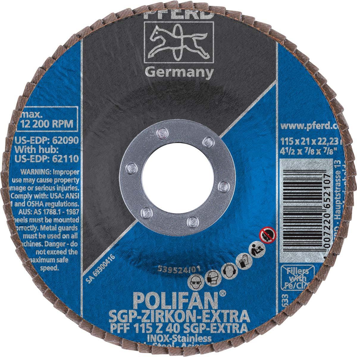 "4-1/2"" x 7/8"" POLIFAN® Flap Disc - Flat SGP, Zirconia EXTRA, 40 Grit"