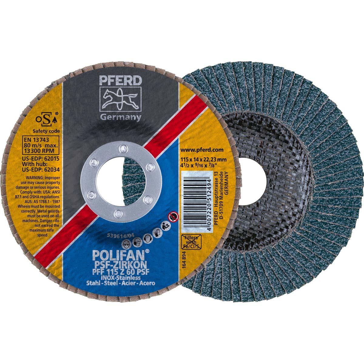 "4-1/2"" x 7/8"" POLIFAN® Flap Disc - Flat PSF, Zirconia, 60 Grit"