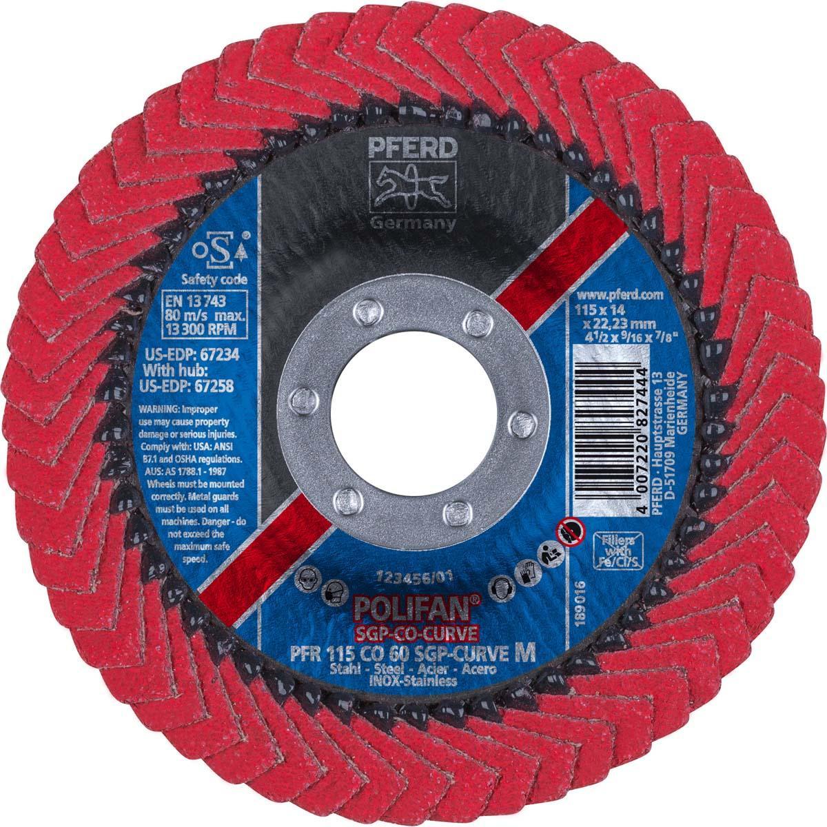 "4-1/2"" x 7/8"" POLIFAN® CURVE Flap Disc SGP, Ceramic Oxide, 60 Grit, Medium Radius"