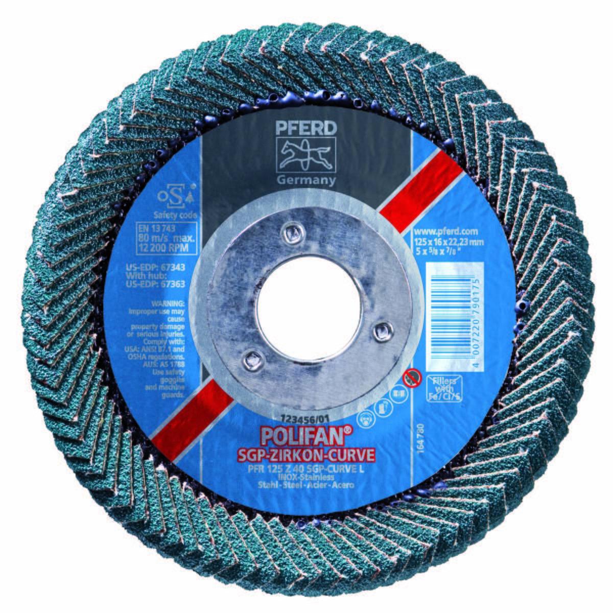 "5"" x 7/8"" POLIFAN® CURVE Flap Disc SGP, Zirconia, 40 Grit, Large Radius"