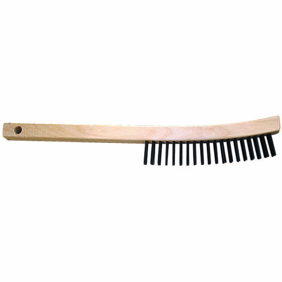 Curved Handle Scratch Brush 3x19 Rows, CS Wire, Wooden Block