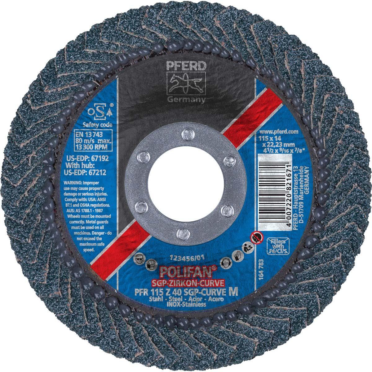 "4-1/2"" x 7/8"" POLIFAN® CURVE Flap Disc SGP, Zirconia, 40 Grit, Medium Radius"