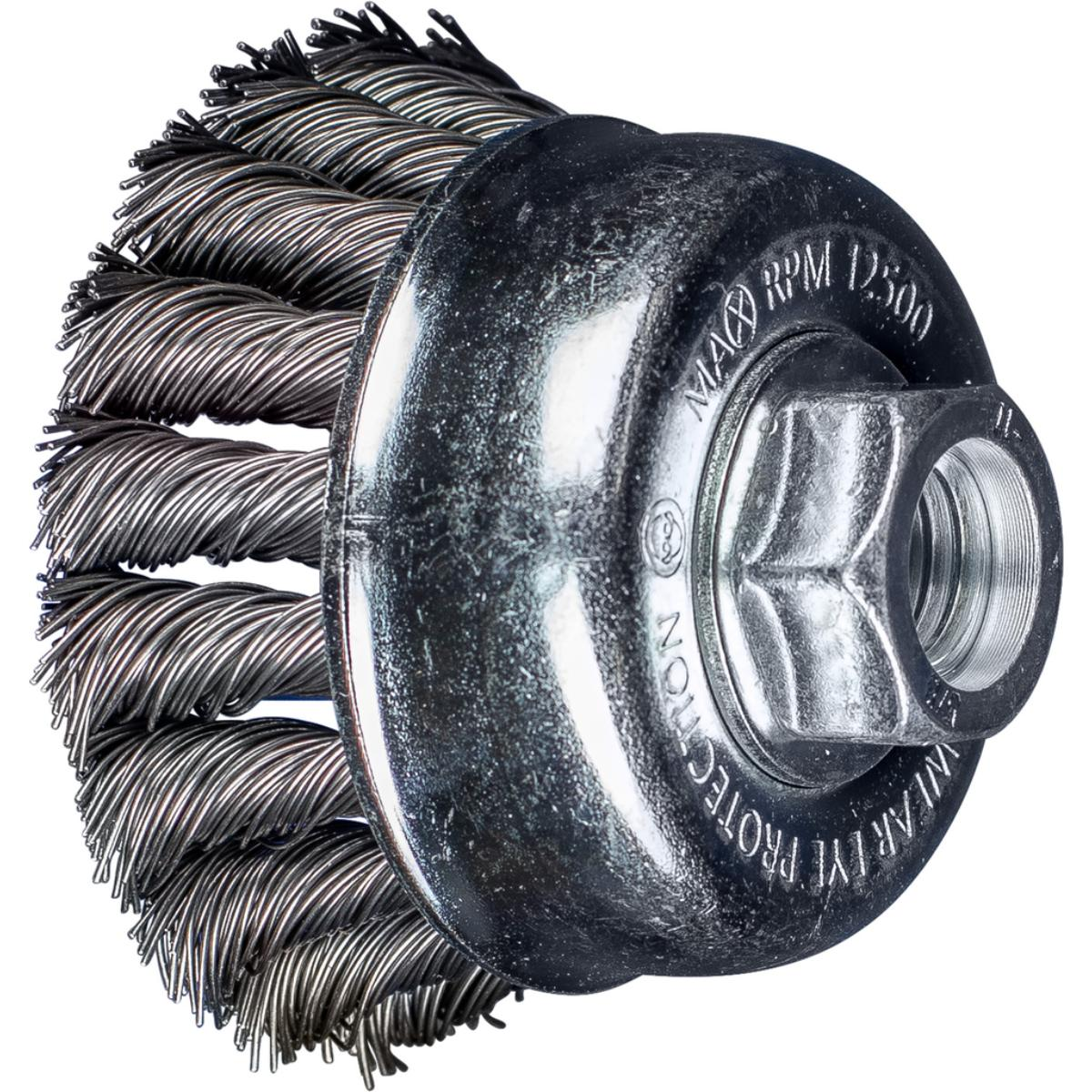 "2-3/4"" PSF Knot Cup Brush .020 CS Wire, 5/8-11 Thread (ext.)"