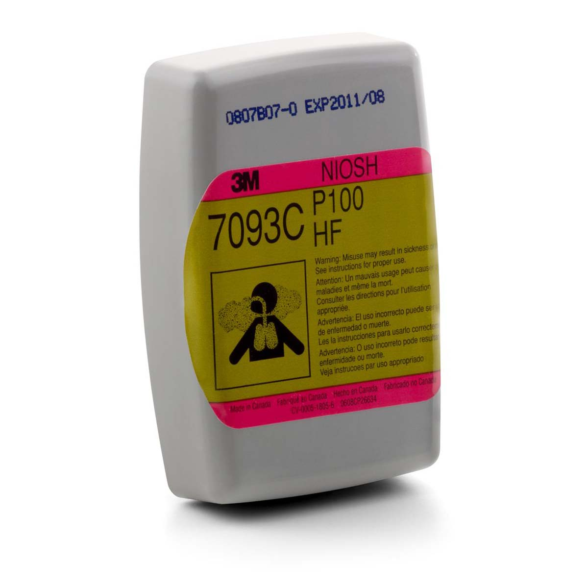 """3Mâ""""¢ Hydrogen Fluoride Cartridge/Filter 7093CB, P100, with Nuisance Level Organic Vapor and Acid Gas Relief*"""
