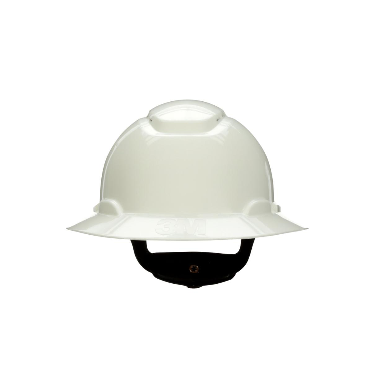 "3Mâ""¢ Full Brim Hard Hat H-801R, White 4-Point Ratchet Suspension,"