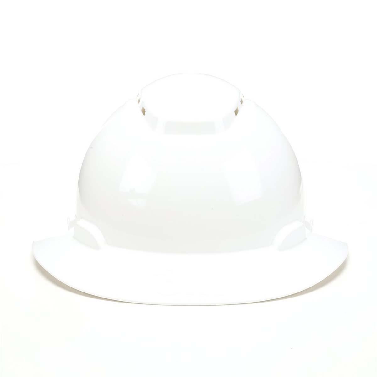 "3Mâ""¢ Full Brim Hard Hat H-801V, White 4-Point Ratchet Suspension, Vented,"