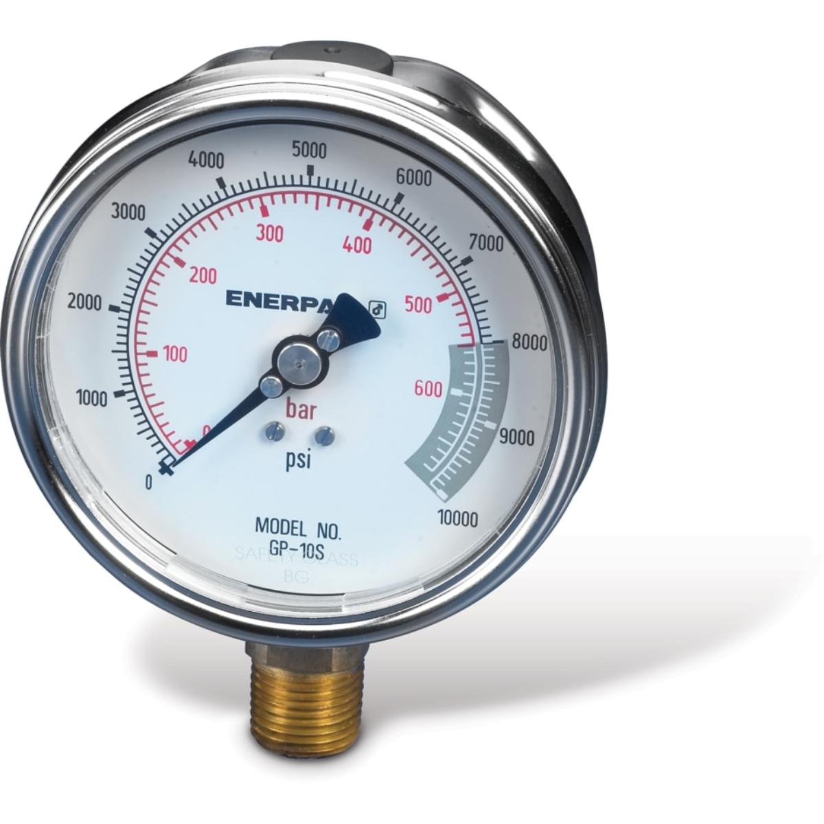 PRESSURE GAUGE, 0 TO 10000 PSI, 4IN, 1/2IN