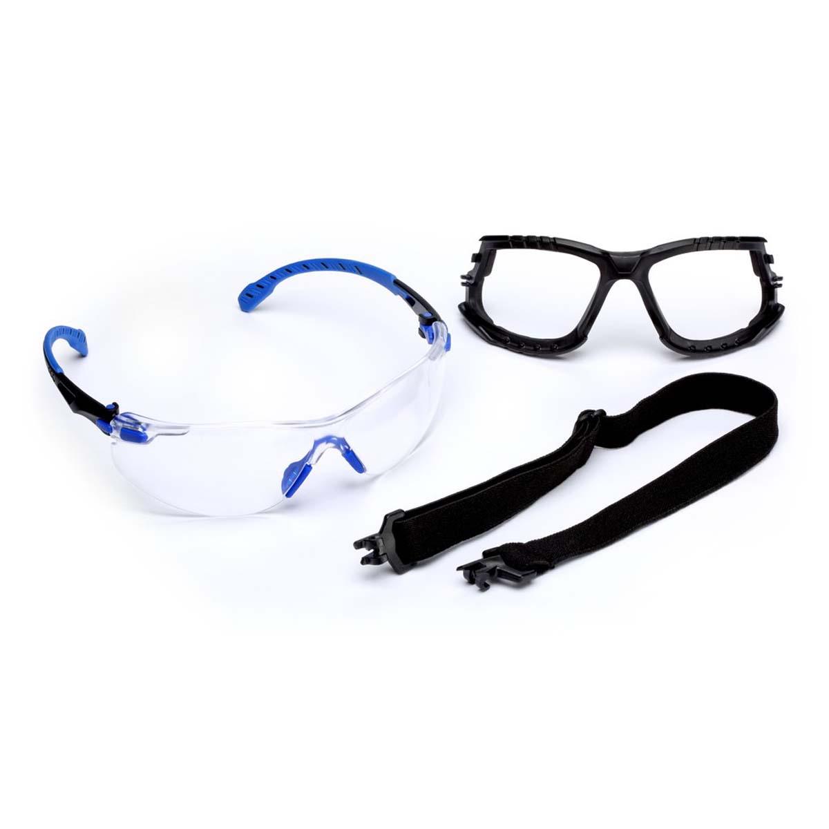 "3Mâ""¢ Solusâ""¢ 1000-Series S1101SGAF-KT, Kit, Foam, Strap, Black/Blue, Clear Scotchgardâ""¢ Anti-fog Lens"
