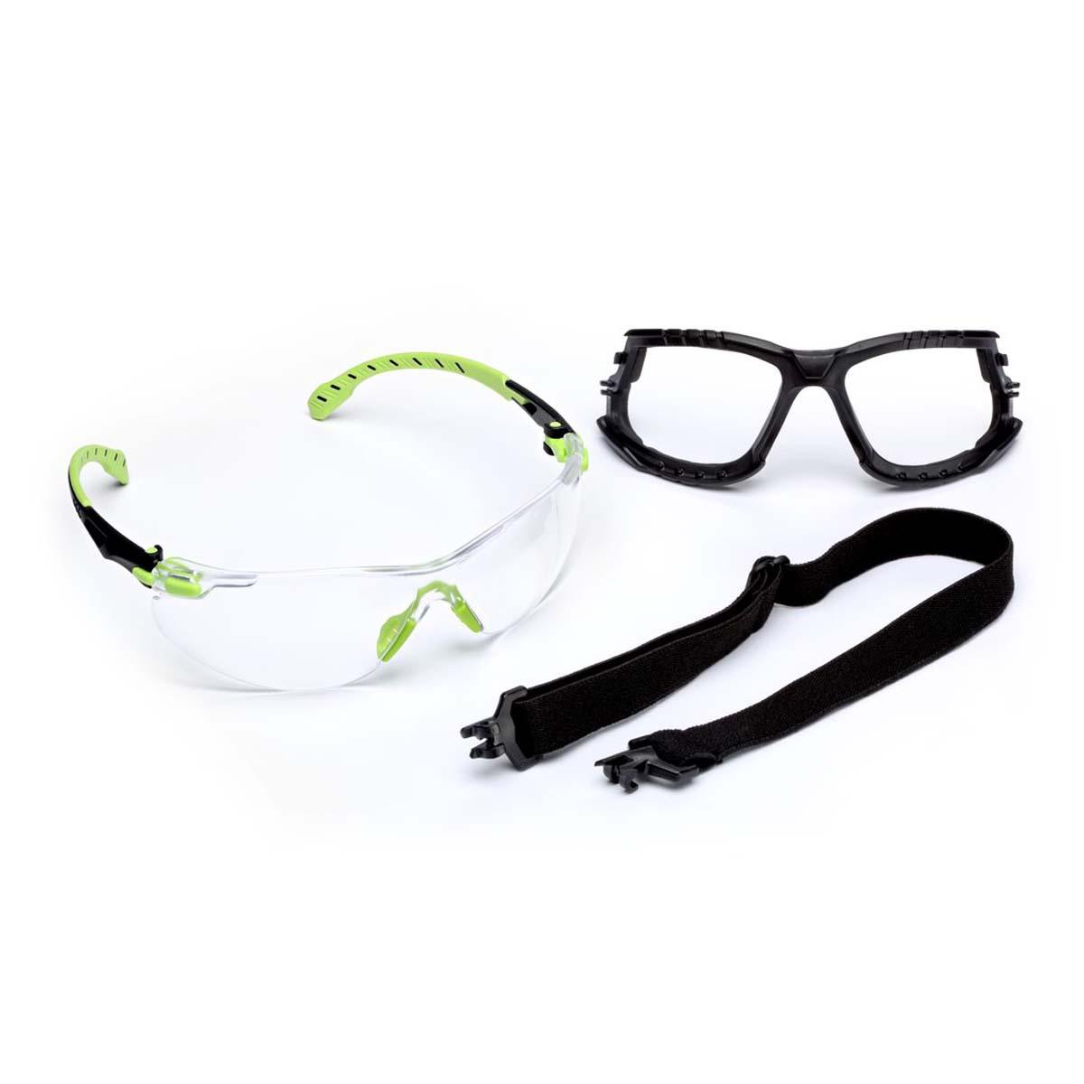 "3Mâ""¢ Solusâ""¢ 1000-Series S1201SGAF-KT, Kit, Foam, Strap, Green/Black, Clear Scotchgardâ""¢ Anti-fog Lens"