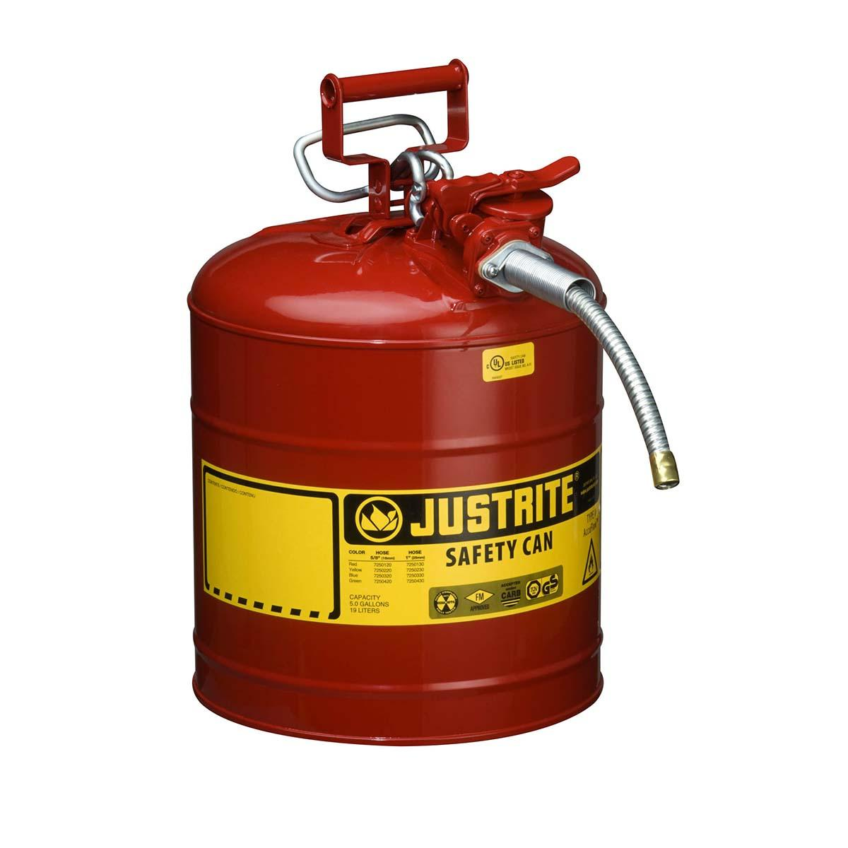 "Type II AccuFlowâ""¢ Steel Safety Can for flammables, 5 gal., S/S flame arrester, 5/8"" metal hose, Red."