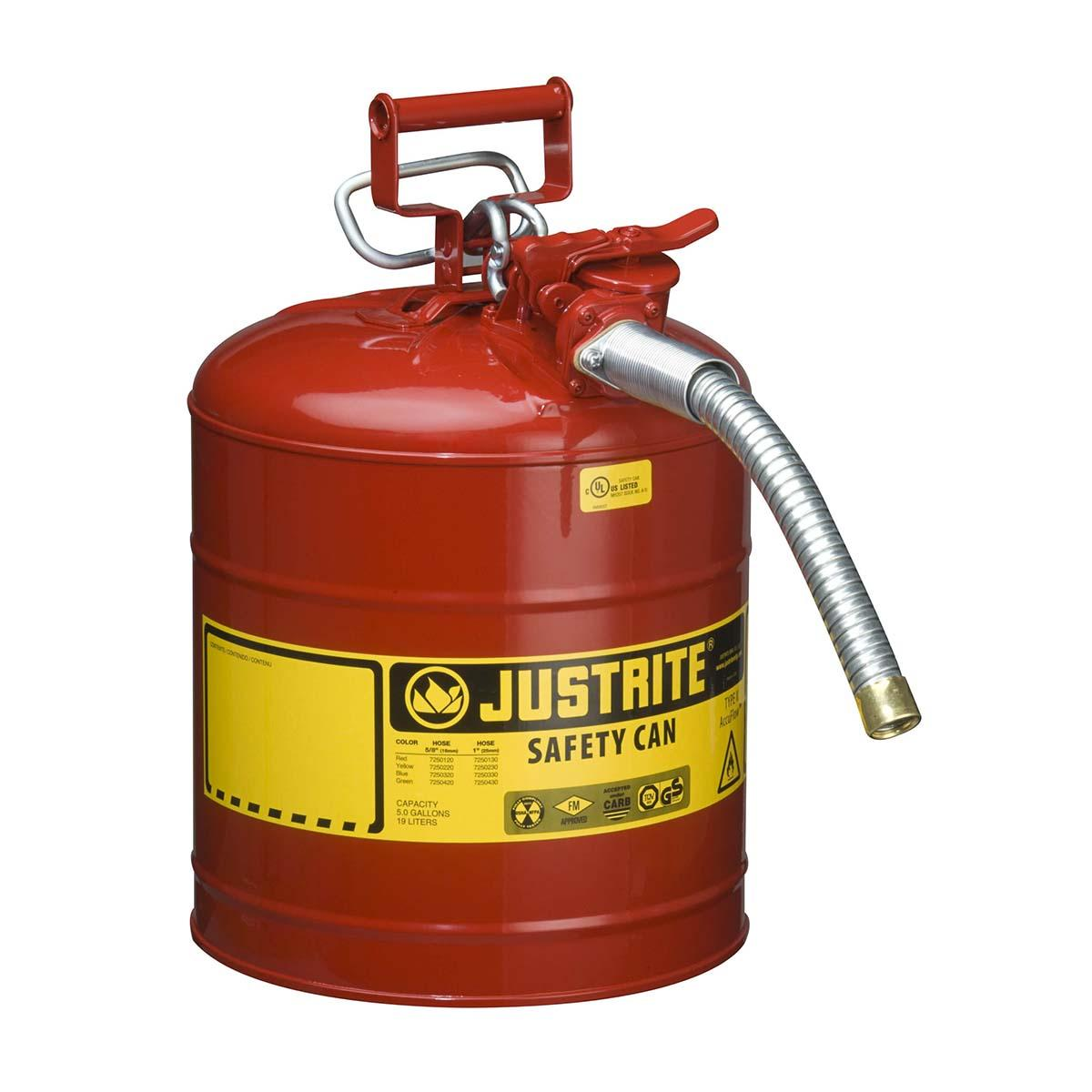 "Type II AccuFlowâ""¢ Steel Safety Can for flammables, 5 gal., S/S flame arrester, 1"" metal hose, Red."