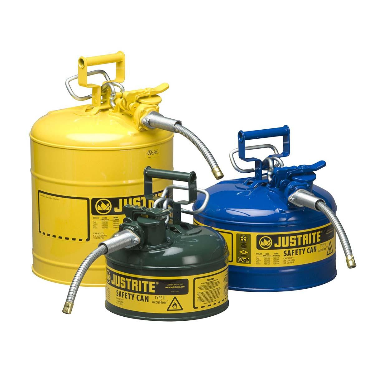 "Type II AccuFlowâ""¢ Steel Safety Can for flammables, 5 gal., S/S flame arrester, 5/8"" metal hose, Yel."