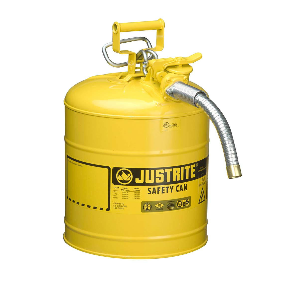 "Type II AccuFlowâ""¢ Steel Safety Can for flammables, 5 gal., S/S flame arrester, 1"" metal hose, Yel."