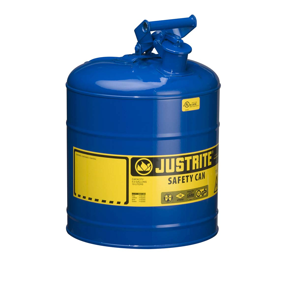 Type I Steel Safety Can for flammables, 5 gallon, S/S flame arrester, self-close lid, Blue.