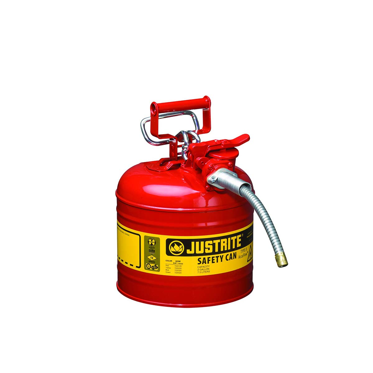 "Type II AccuFlowâ""¢ Steel Safety Can for flammables, 2 gal., S/S flame arrester, 5/8"" metal hose, Red."