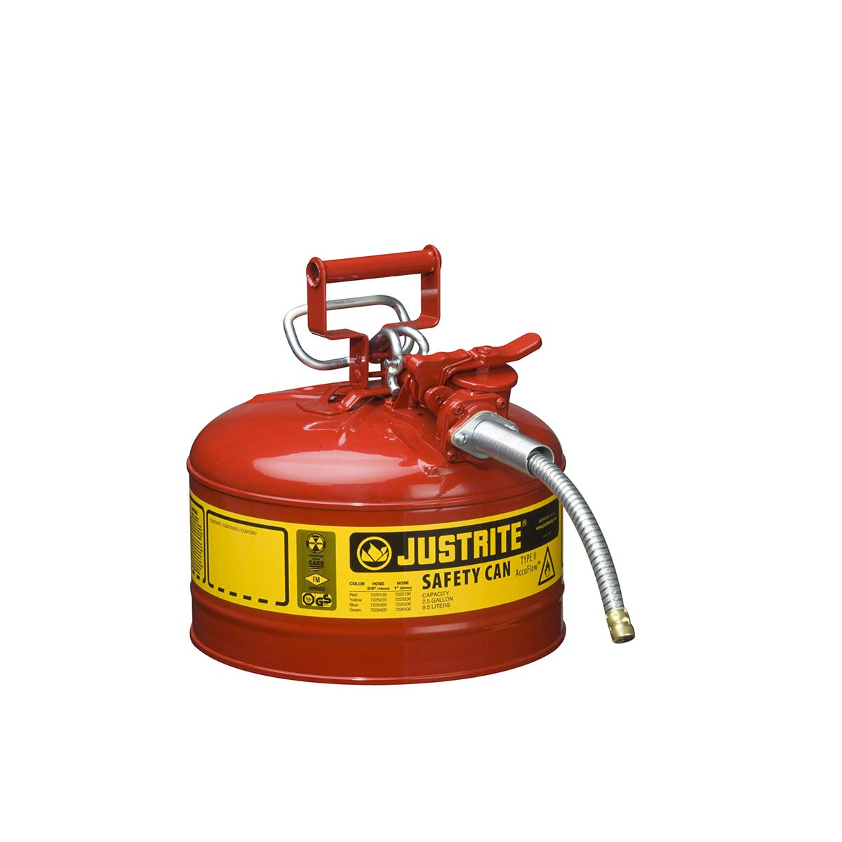 "Type II AccuFlowâ""¢ Steel Safety Can for flammables, 2.5 gal., flame arrester, 5/8"" metal hose, Red."