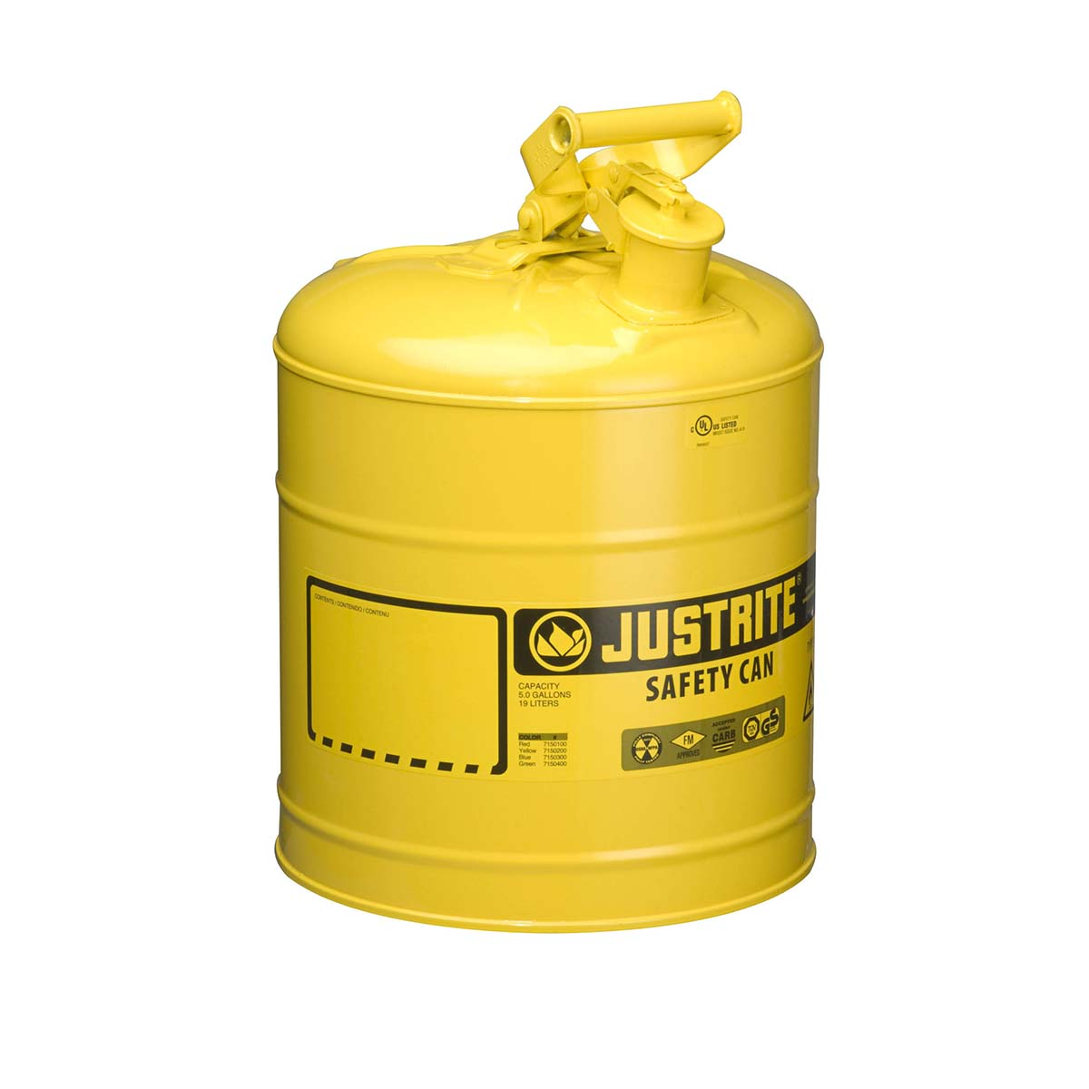 Type I Steel Safety Can for flammables, 5 gallon, S/S flame arrester, self-close lid, Yellow.