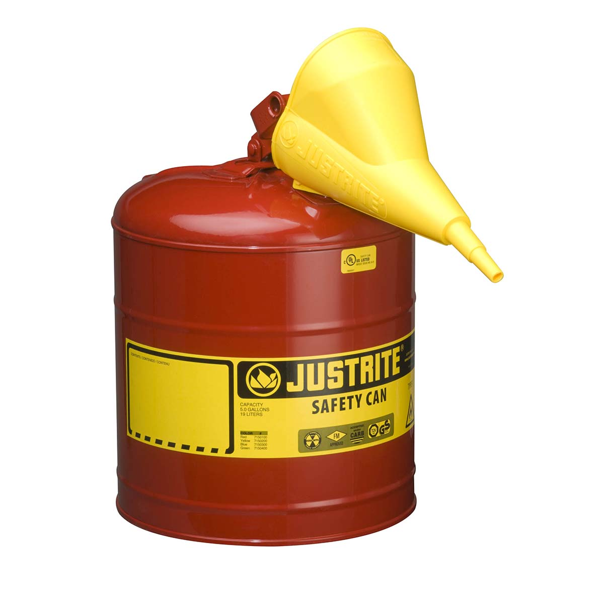Type I Steel Safety Can for flammables, Funnel 11202Y, 5 gallon, S/S flame arrester, s/c lid, Red.