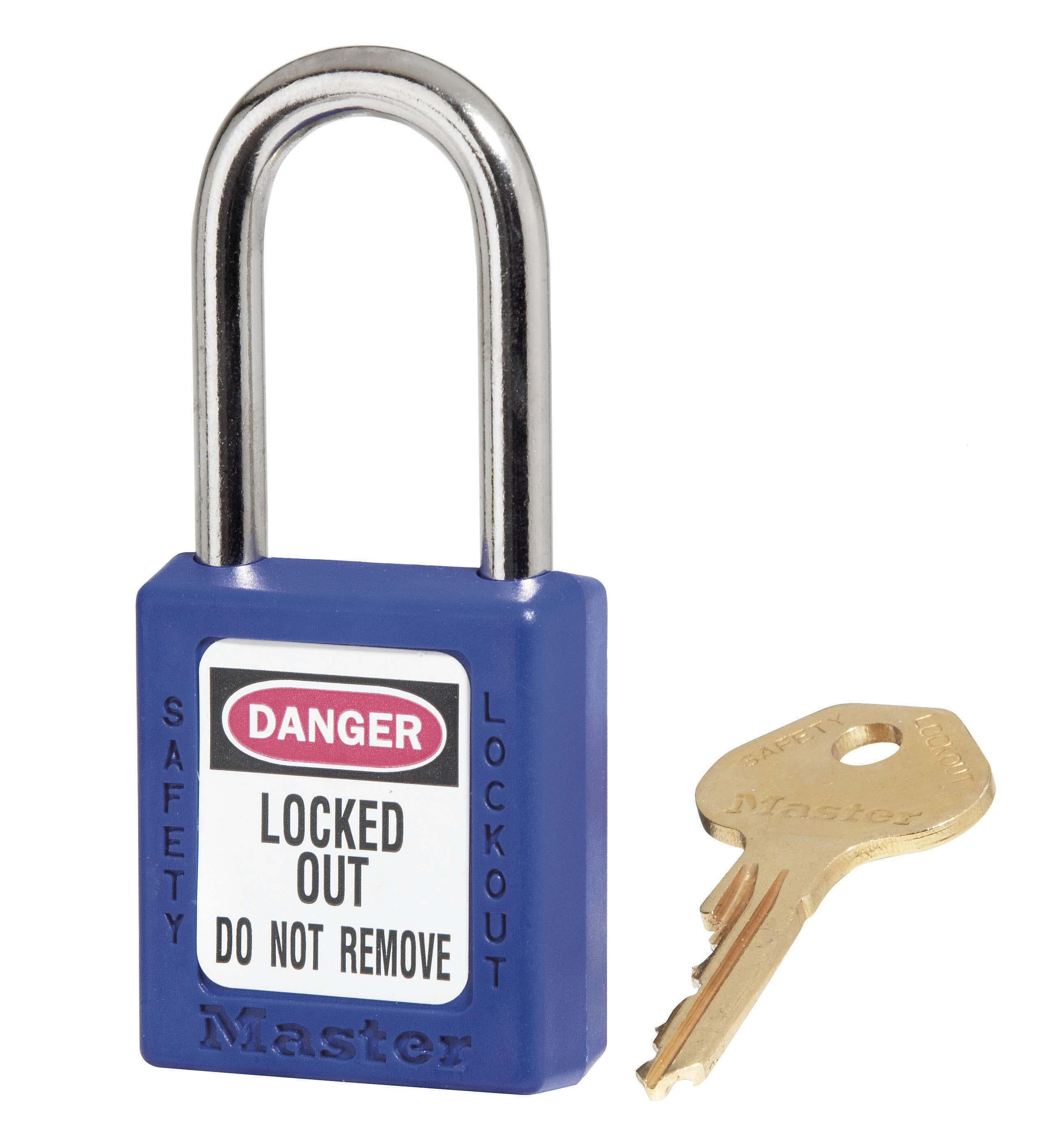"410 Thermoplastic Safety Padlock. 1-1/2"" (3.8cm) wide 1-3/4"" (4.4cm) tall Thermoplastic blue body, shackle w/1-1/2"" (3.8cm)"