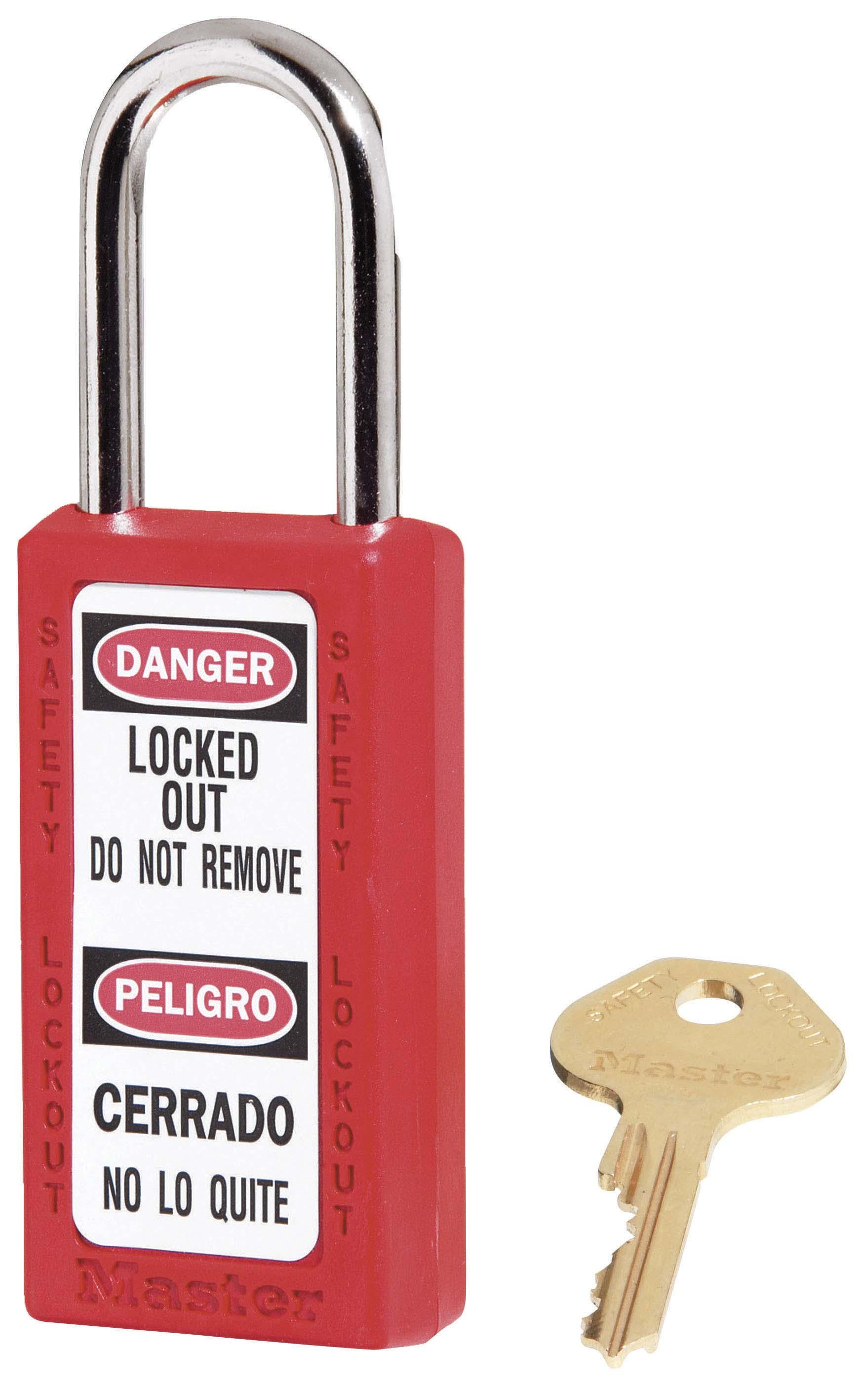 """411 Thermoplastic Safety Padlock. 1-1/2"""" (3.8cm) wide 3"""" (7.6cm) tall"""