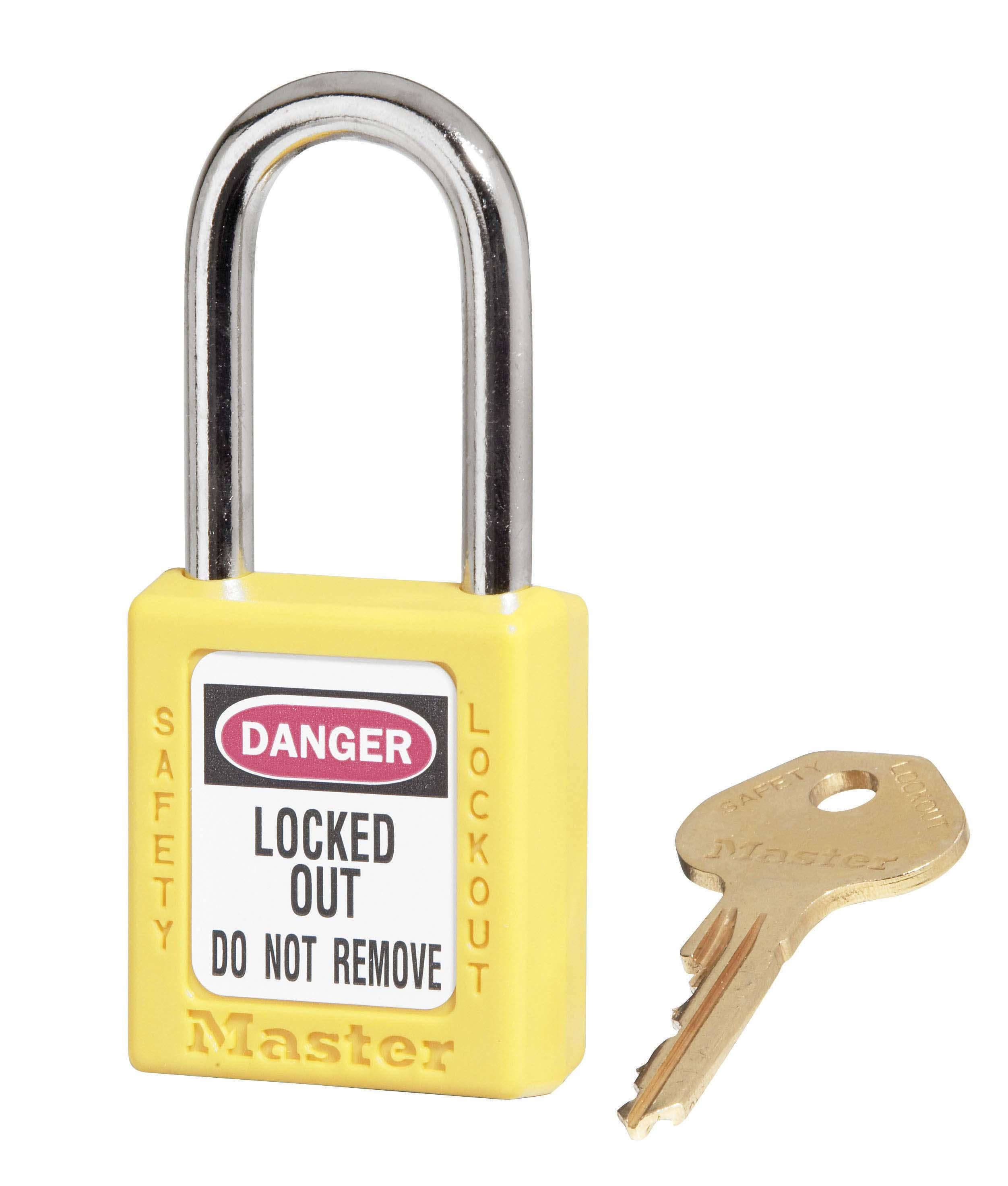 """410 Thermoplastic Safety Padlock. 1-1/2"""" (3.8cm) wide 1-3/4"""" (4.4cm) tall"""