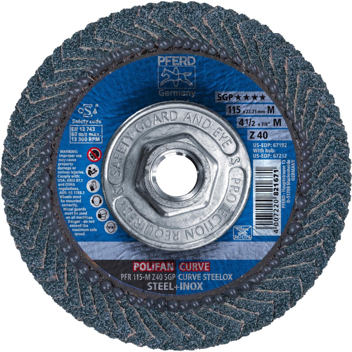"4-1/2"" x 5/8-11 POLIFAN® CURVE Flap Disc SGP, Zirconia, 40 Grit, Medium Radius"