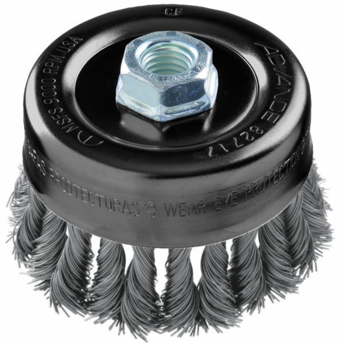 "2-3/4"" Knot Wire Cup Brush .020 SS Wire, 5/8-11 Thread (ext.)"