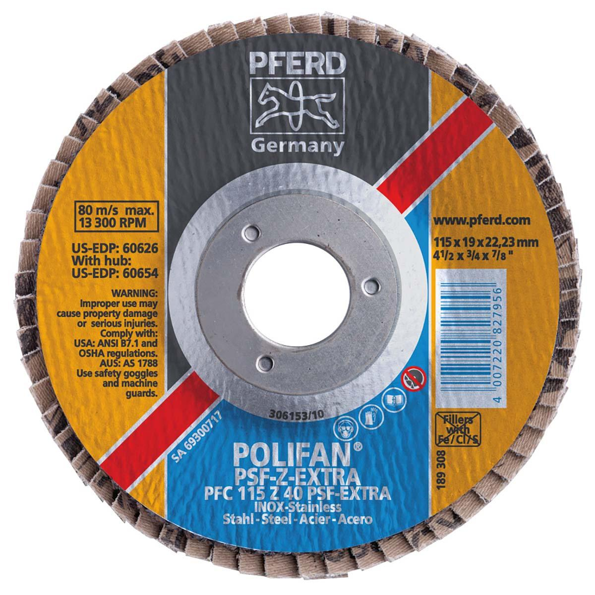 "4-1/2"" x 5/8-11 POLIFAN® Flap Disc - Flat PSF-EXTRA, Zirconia, 40 Grit"