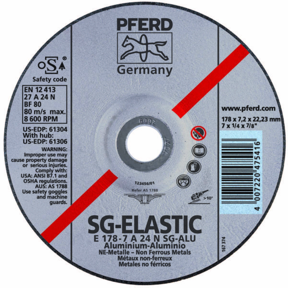 "4-1/2"" x 1/4"" Grinding Wheel, 5/8-11 Thd. A 30 N SG-INOX - Type 27"