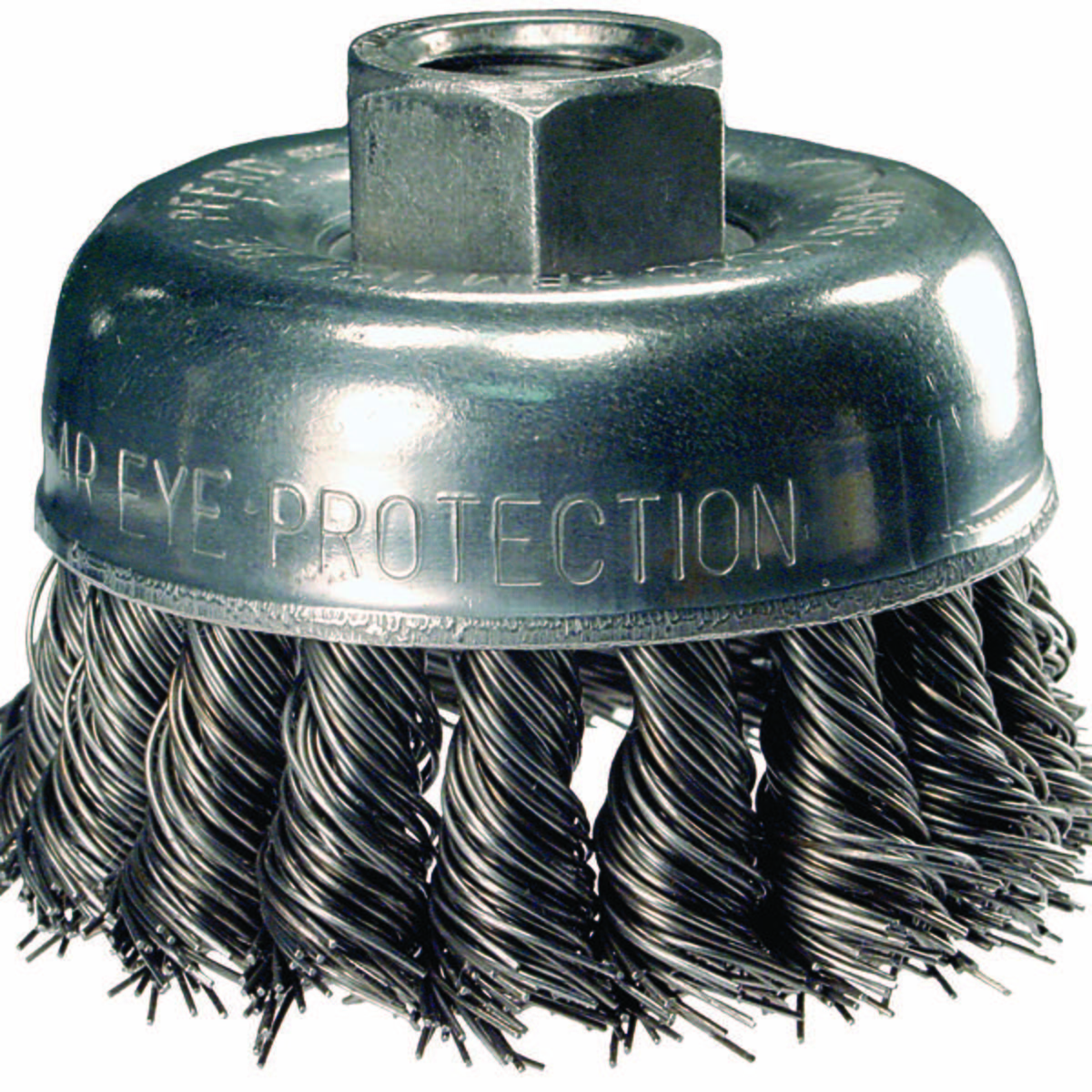 "3-1/2"" Knot Wire Cup Brush .020 CS Wire, 5/8-11 Thread (ext.)"