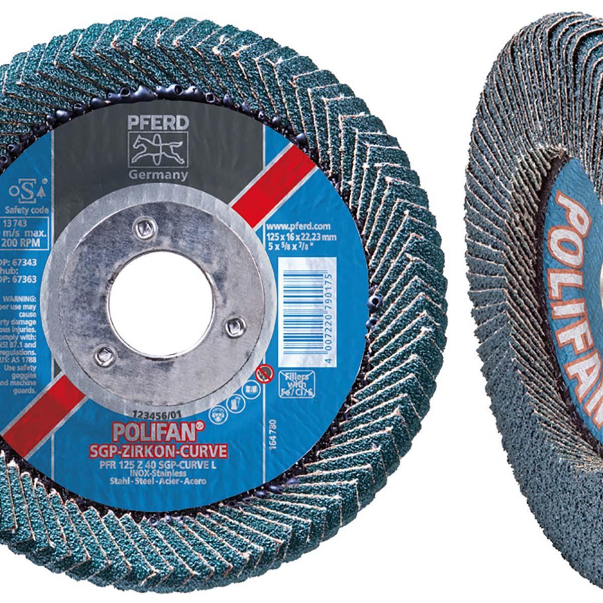 "4-1/2"" x 5/8-11 POLIFAN® CURVE Flap Disc SGP, Zirconia, 40 Grit, Large Radius"