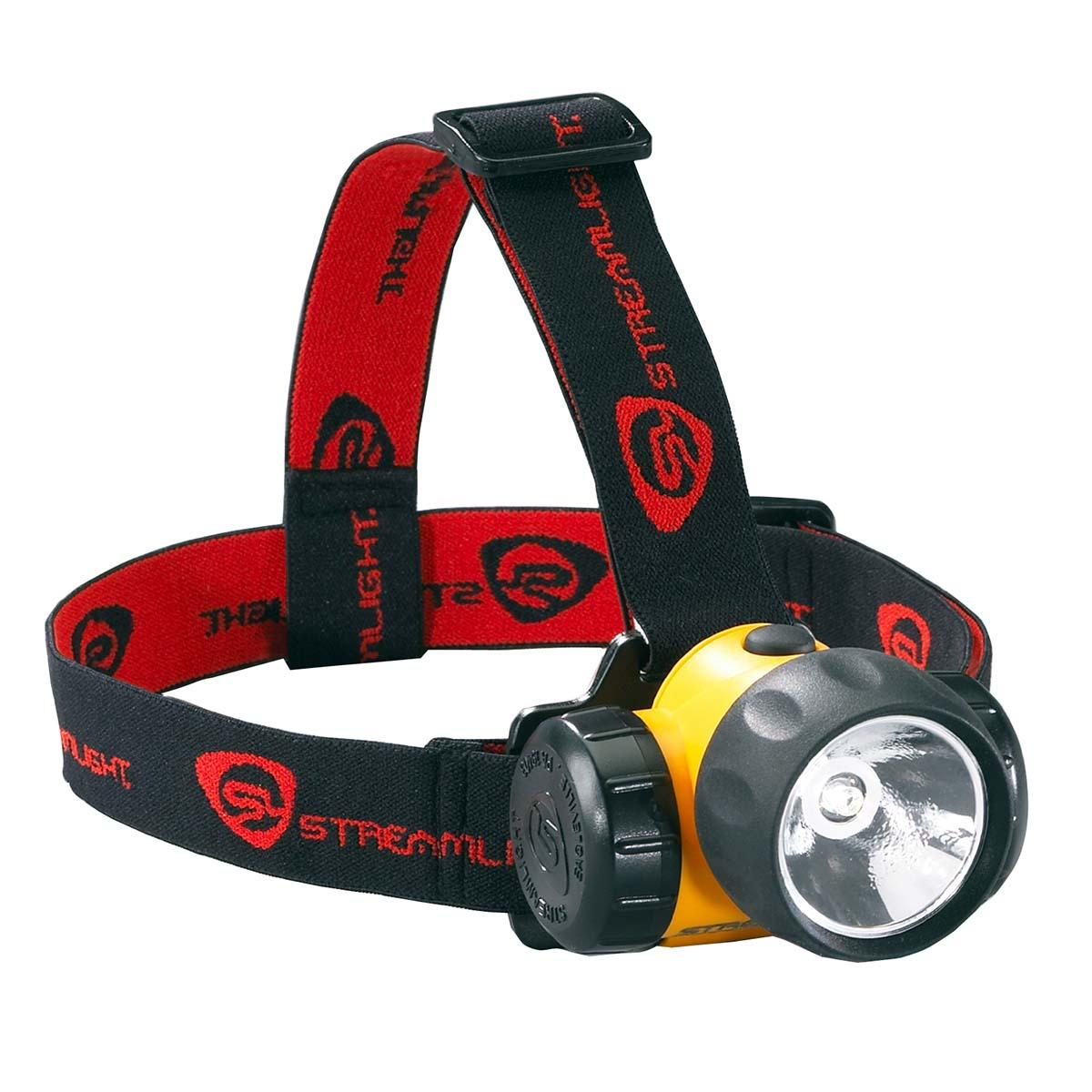 3AA HAZ-LO Headlamp with alkaline batteries. Rubber & Elastic Straps. Yellow