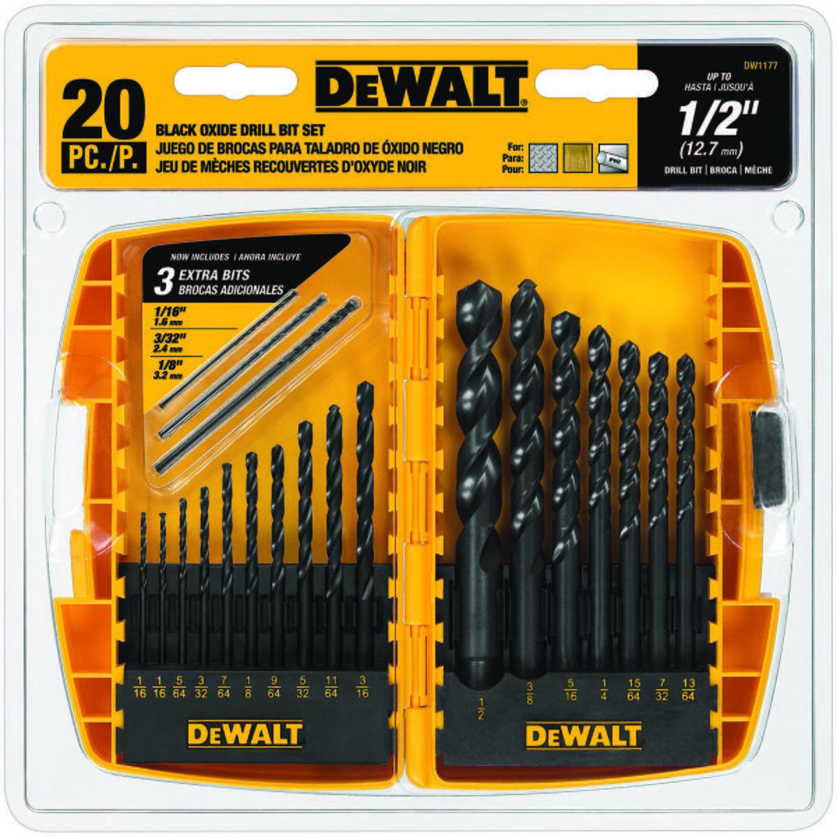 20pc Black Oxide Metal Drilling Set