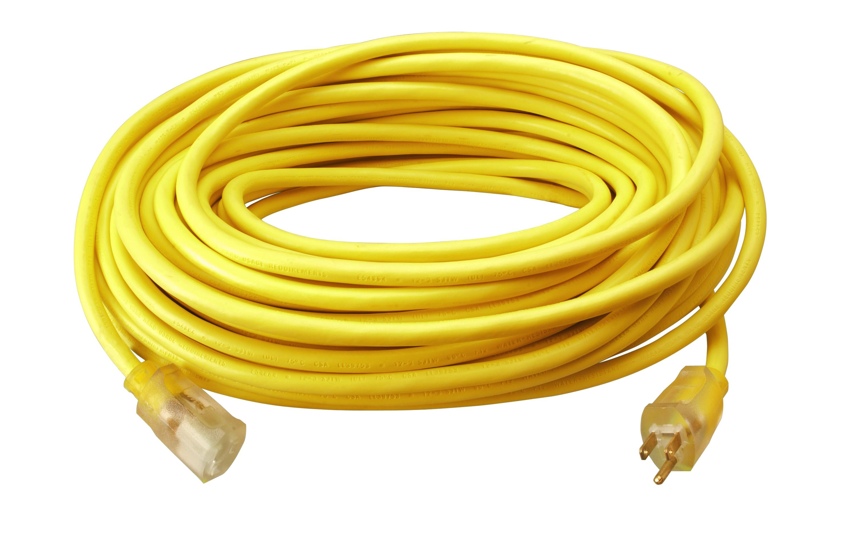 100ft 12/3 Yellow Ext Cord