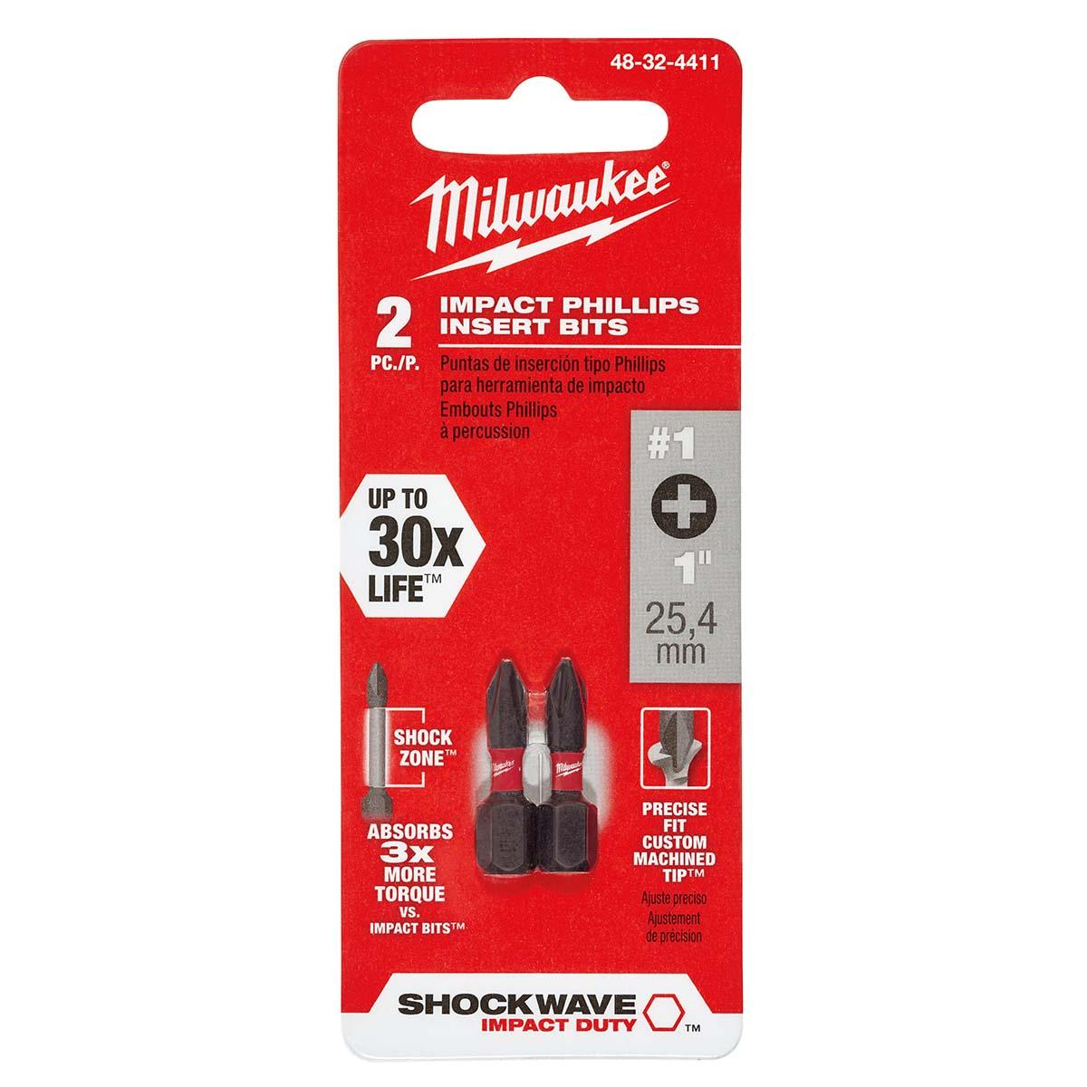 "SHOCKWAVEâ""¢ Impact Phillips #1 Insert Bits (2PK)"