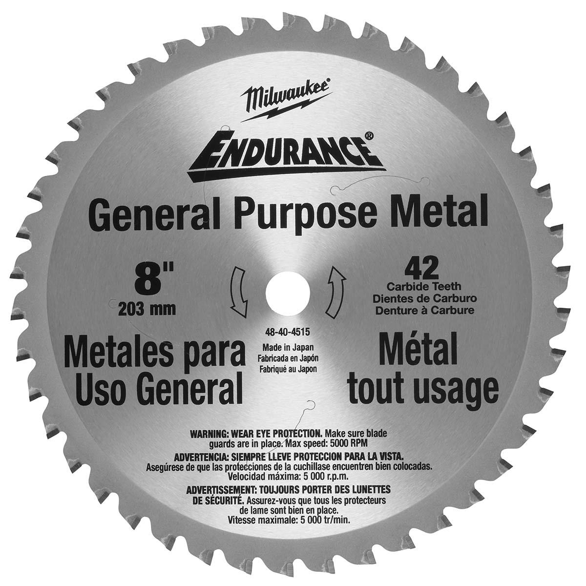 """Circular Saw Blade 8"""" 42 Tooth Dry Cut Cermet Tipped"""