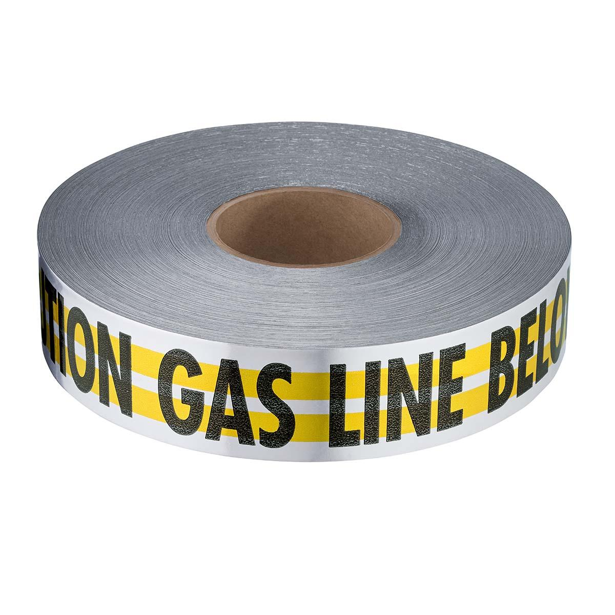"2"" X 1000' MAGNATEC YELLOW PREMIUM DETECTABLE ""CAUTION GAS LINE BELOW"""