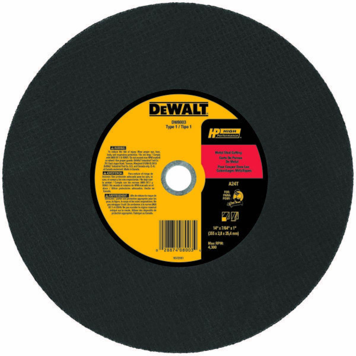 Abrasive Cut-Off Wheel, Abrasive Wheel Type Type 1, Abrasive Wheel Diameter 14 In., Thickness 7/64 In., Arbor Hole Size 1 In.
