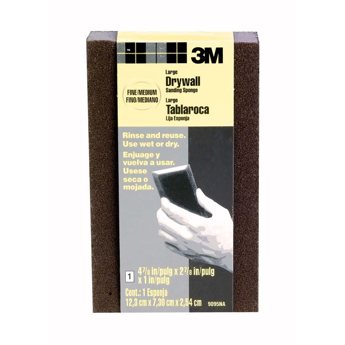 3M Large Area Drywall Sanding Sponge 9095DCNA, 4.875 in x 2.875 in x 1 in, Fine Medium