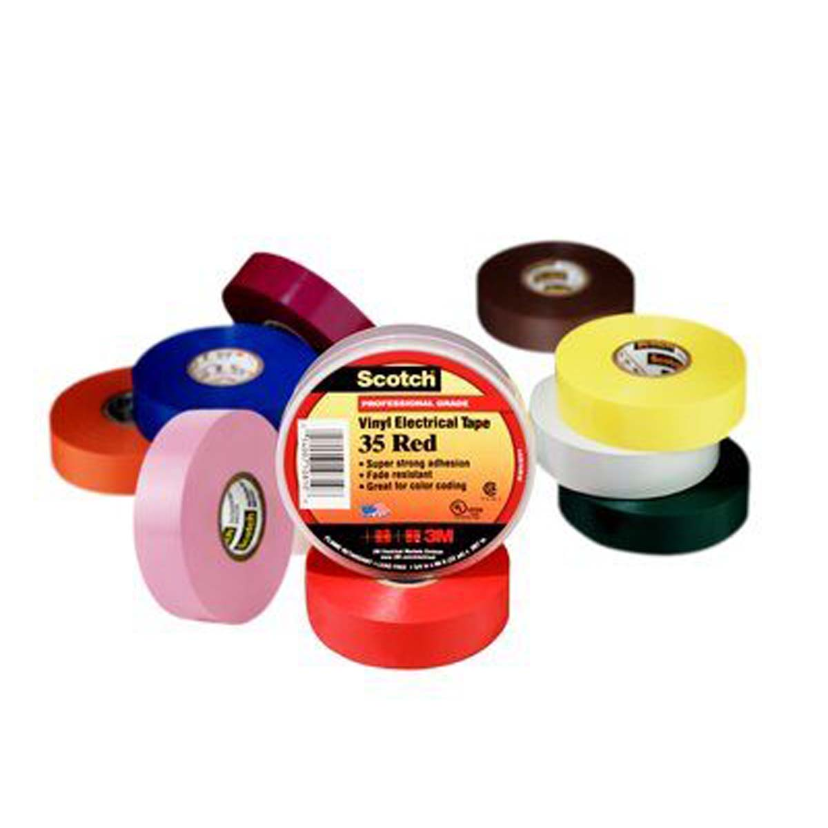 Scotch® Vinyl Color Coding Electrical Tape 35, 3/4 in x 66 ft, Red