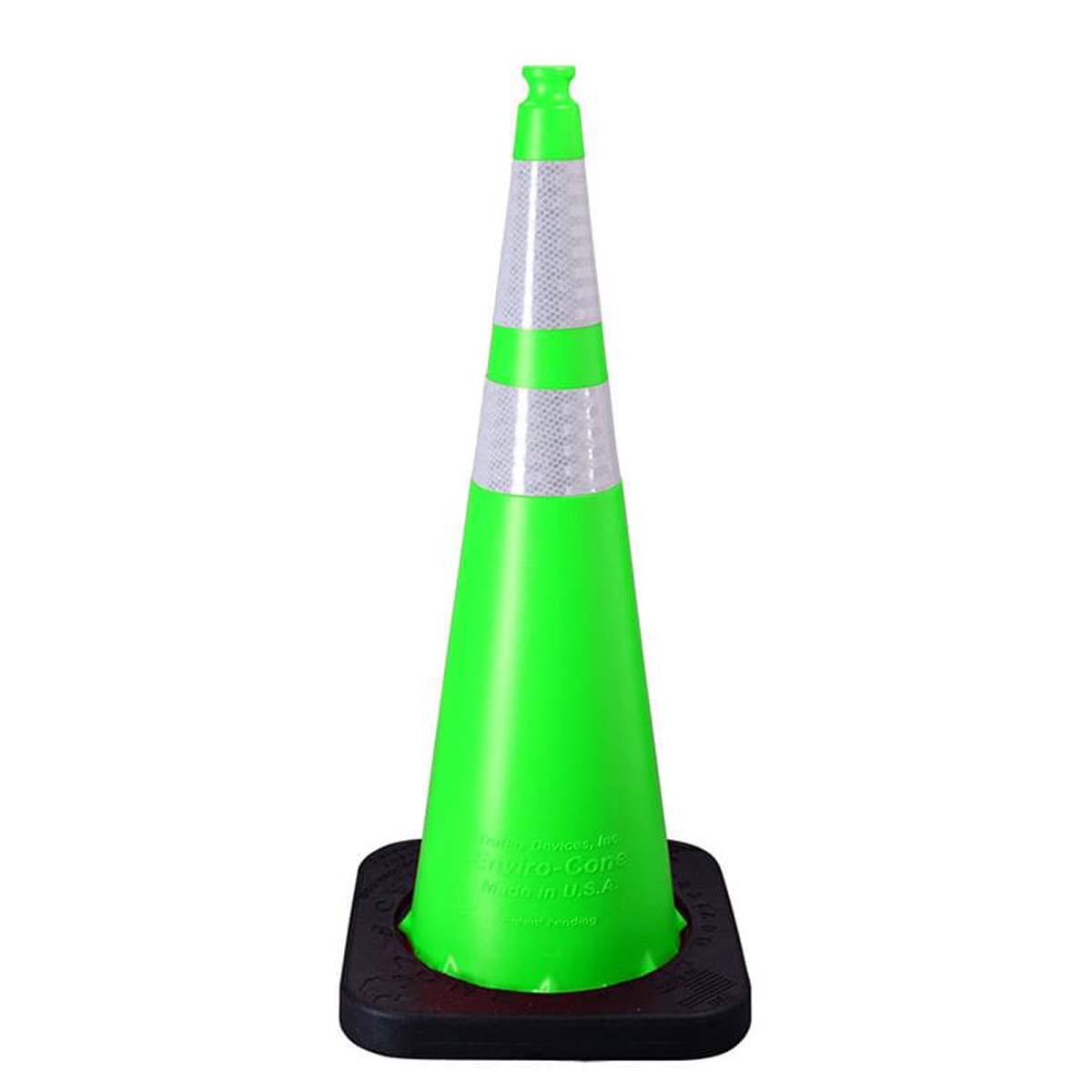 "36"""" 12# Lime Enviro Cone w/(1)4"""" & (1)6"""" Reflective Collars"